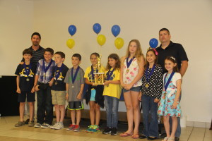 CCA's Mighty Maverick soccer team posing for a picture after winning second place overall at CCA's sports banquet.