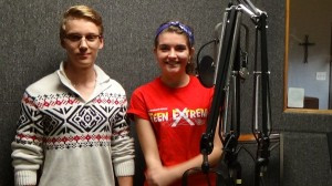 Students, Emily and Josh recorded CCA's first radio spot for WAY FM.