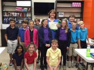 Mrs. Tabitha Dillehay with her fifth grade students.