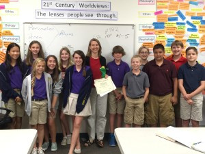 Mrs. DeFrance with Upper School students.