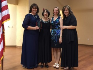 CCA's 2015 finalist teachers celebrate together at the Golden Halo Ceremony. Left to Right: Tabitha Dillehay, Evelyn Strasbaugh, Amy DeFrance and Vicki Watson