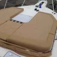 Bow cushions with folded down Bimini top
