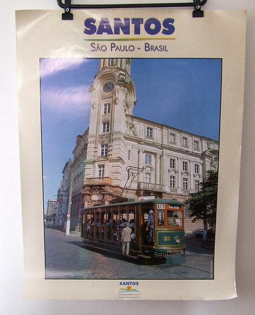 Poster Santos - Torre do Relógio da Bolsa do Café e Bonde
