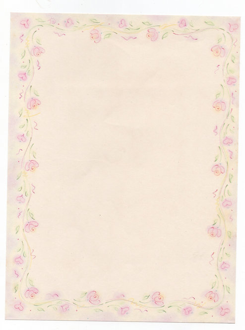 Papel de Carta Antigo Moldura Flores