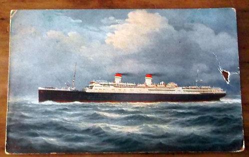 Postal Antigo Navio Conte Grande
