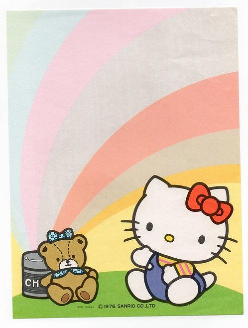 Papel De Carta Antigo Sanrio Hello Kitty Rainbow