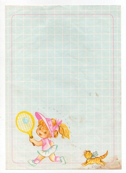 Papel de Carta Antigo Cleny Tenista
