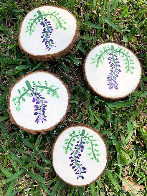 Hand-painted Wisteria Wood Coasters