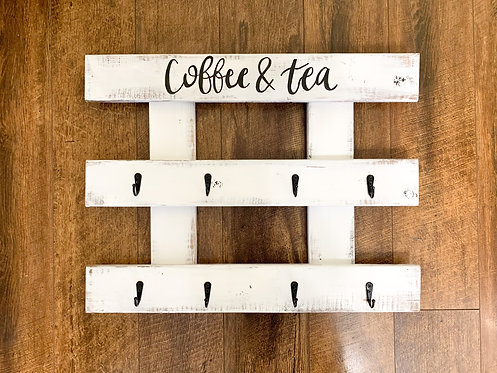 Coffee & Tea Distressed Mug Holder