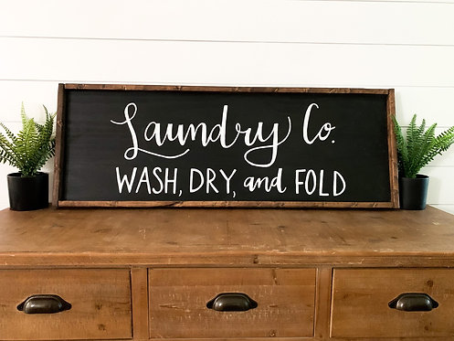 Laundry Co. Wood Sign