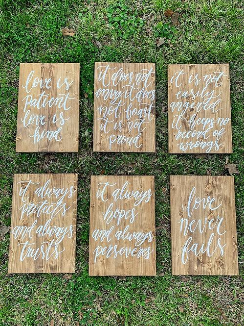 Set of 6 Signs 1 Corinthians 13:4-8