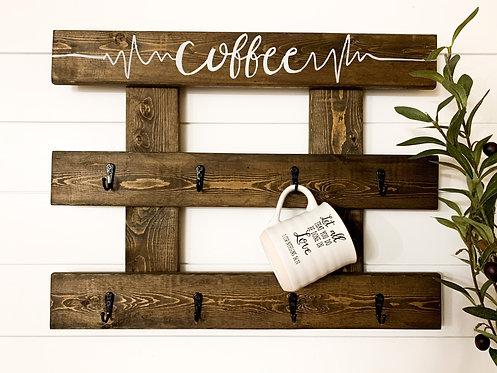 Coffee Lifeline Dark Walnut Mug Holder