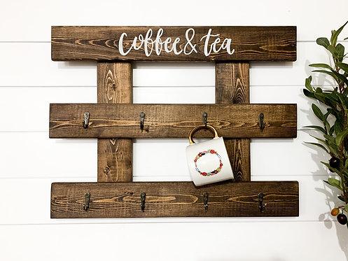 Coffee & Tea Dark Walnut Mug Holder