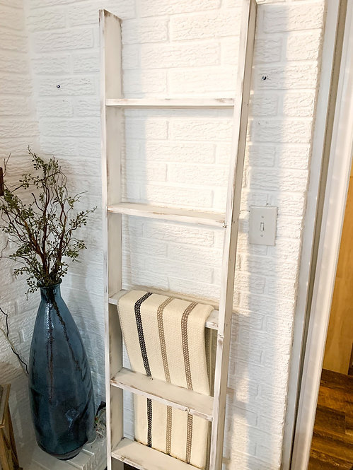 6 Foot White Distressed Ladder