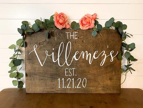 "Last Name 20""x30"" Wedding Sign"