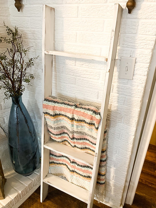 5 Foot White Distressed Ladder