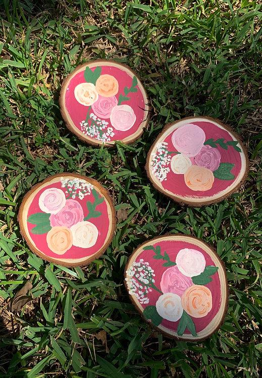 Pink Floral Wood Coasters
