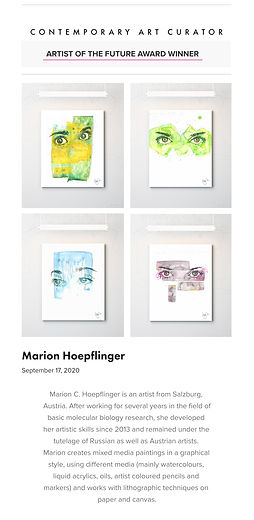 Artist of the Future Award by Contemporary Art Curator to Marion C Hoepflinger