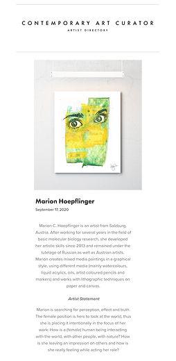 Marion C Hoepflinger Contemporary Art Curator Artist Directory