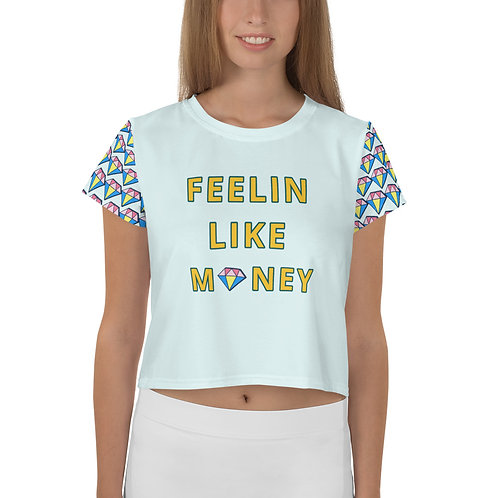 FEELIN LIKE MONEY - Crop Tee (baby blue)