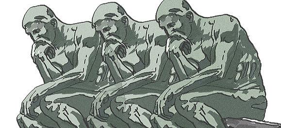 """Dessin inspiré du """"Penseur"""" de Rodin, par Brunor"""
