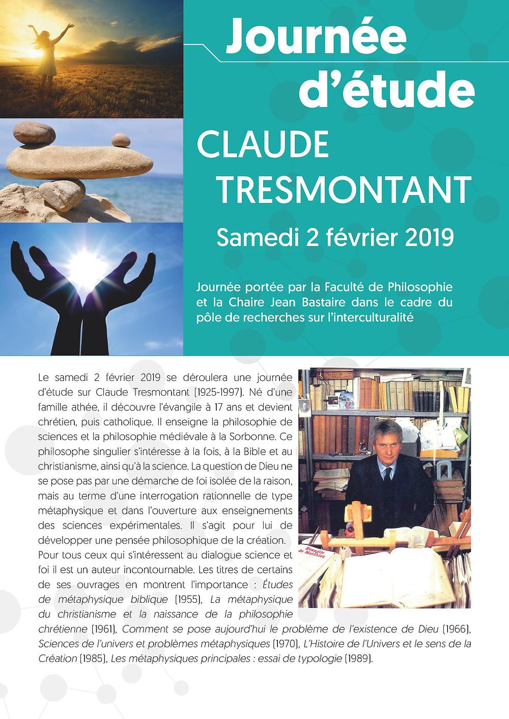 Journée d'étude Claude Tresmontant samedi 2 février 2019