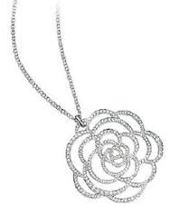 18k white gold & diamonds modern flower pendant
