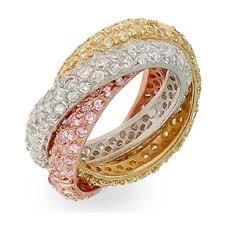 3 colour gold Russian diamond ring