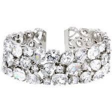 Melange of fancy cut diamond cuff bracelet