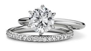 Platinum solitaire and matching wedding band
