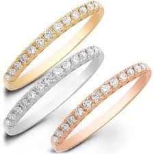 3 colour gold full eternity diamond bands