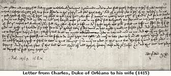 Letter from Charles, Duke of Orleans to his wife (1415)