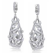 Diamonds drop cage dandling earrings
