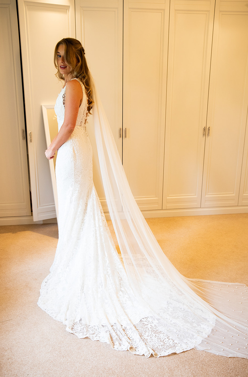 modern bride, boho bride, bespoke bride, lace dress, wedding dress, ivory dress, bride style, cathedral length veil, pure silk, silk dress, wedding gown, real bride, wedding veil, pearls, pearl veil,