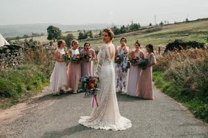 Wedding dress, bridalwear, bridestyle, modern bride, modern wedding, Yorkshire Bride, Yorkshire Wedding, Boho bride, boho wedding, bridesmaid dresses, made in England, lace gown, pure silk, bridal flowers