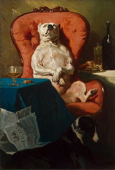 """Pug Dog in an Armchair,"" Alfred de Dreux, 1857. (Wikimedia Commons)"