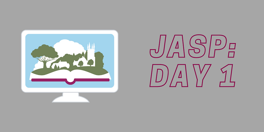 JASP Day 1 recap link:  our creative writing workshop, virtual exhibits, an embroidery workshop, a banquet cook-along and talks by authors Mary Robinette Kowal (the 'Glamourist Histories' series) and Robert Morrison ('The Regency Years').