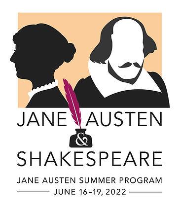 Logo for the 2022 Jane Austen Summer Program: Jane Austen & Shakespeare. June 16-19, 2022