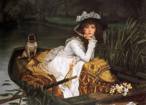 """Young Lady in a Boat with a Pug,"" James Tissot, 1870 (Wikimedia Commons)"