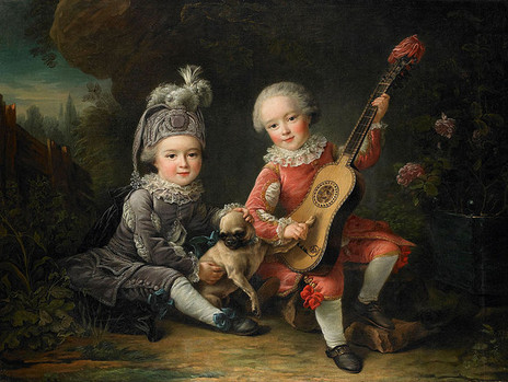 """Children of the Marquis de Béthune with a Pug,"" François-Hubert Drouais 1761 (Wikimedia Commons)"