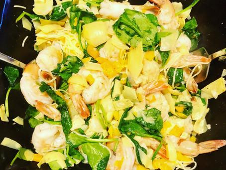 Easy Sautéed Shrimp & Veggies with the BEST GF Cappelinni!