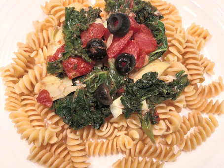 Pantry raid turned healthy & delicious GF dinner, with Barilla Chickpea Pasta!