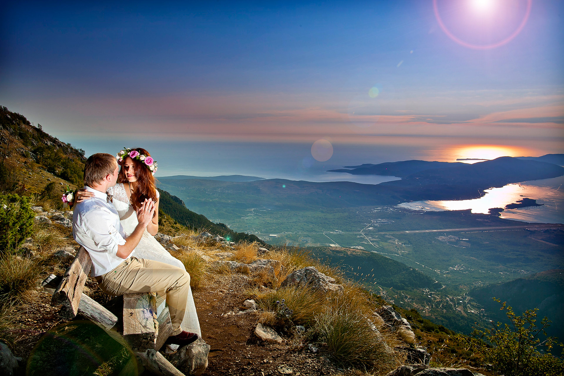 Newlyweds above Tivat bay