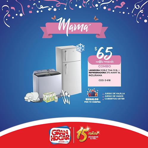 Combo Refrigeradora + Lavadora