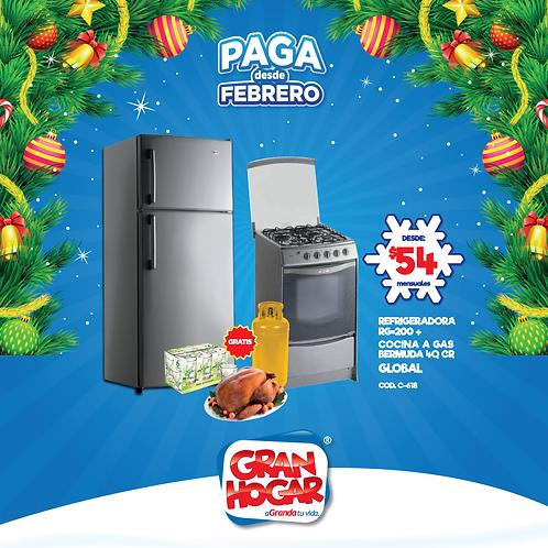 COMBO Refrigeradora + Cocina a Gas Global