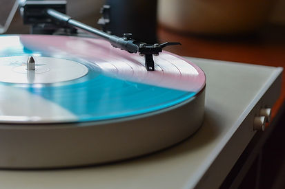 a vinyl record on a turntable.