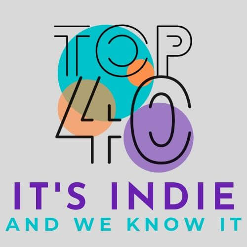 It's Indie Top 40 Logo, 4 coloured circles and text