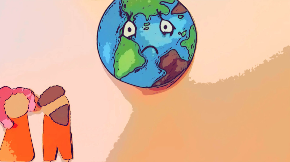 Cartoon image of the band Berne looking at a sad Planet Earth