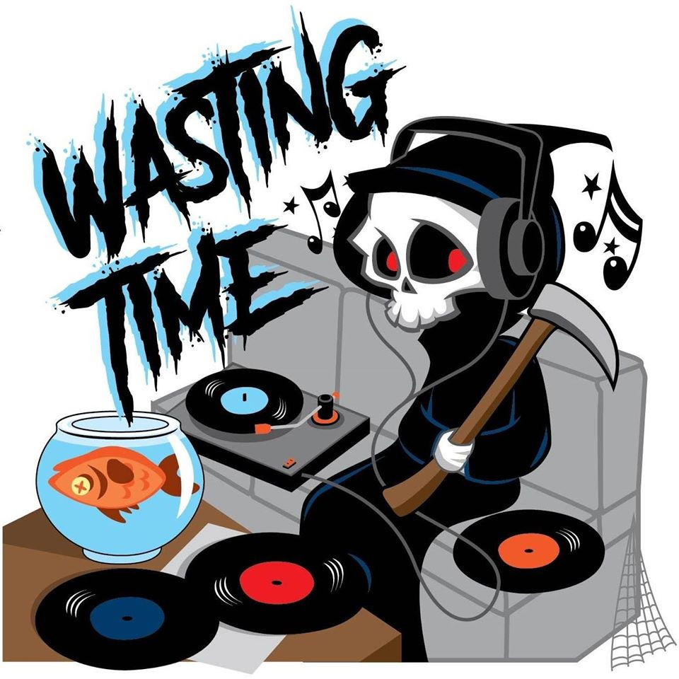 Logo for the band Wasting Time. Cartoon version of the Grim Reaper listending to music through headphones. He is surrounded by vinyl records. A Goldfish is swimming upside down in a bowl.