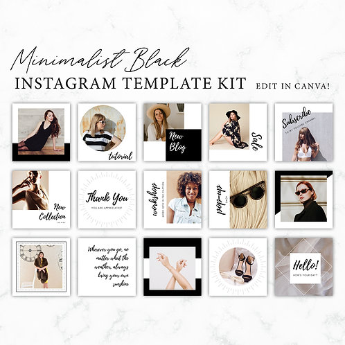 Minimalist Black Instagram Template Kit